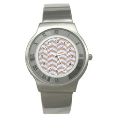Chevron2 White Marble & Sand Stainless Steel Watch by trendistuff