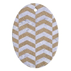 Chevron2 White Marble & Sand Oval Ornament (two Sides)