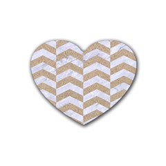 Chevron2 White Marble & Sand Rubber Coaster (heart)  by trendistuff