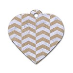 CHEVRON2 WHITE MARBLE & SAND Dog Tag Heart (One Side) Front