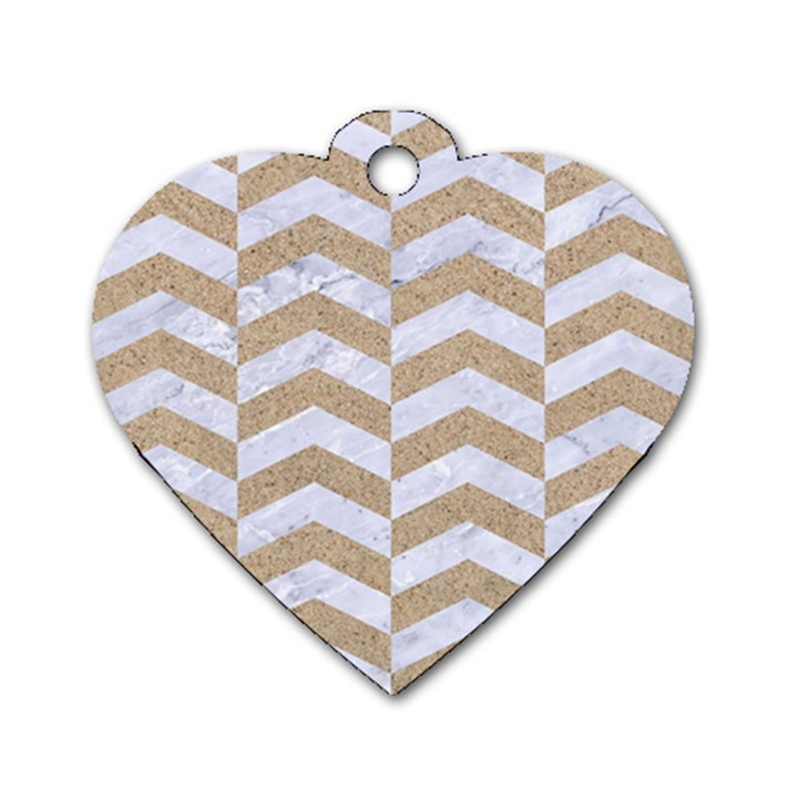 CHEVRON2 WHITE MARBLE & SAND Dog Tag Heart (One Side)