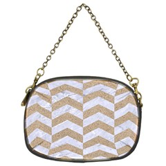 Chevron2 White Marble & Sand Chain Purses (two Sides)  by trendistuff