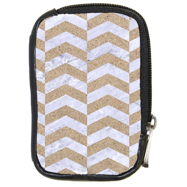 CHEVRON2 WHITE MARBLE & SAND Compact Camera Cases