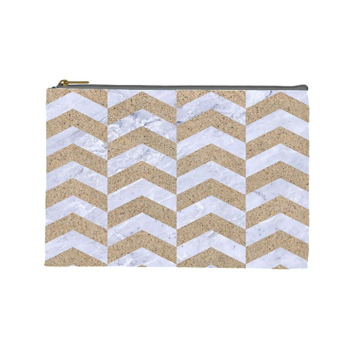 CHEVRON2 WHITE MARBLE & SAND Cosmetic Bag (Large)
