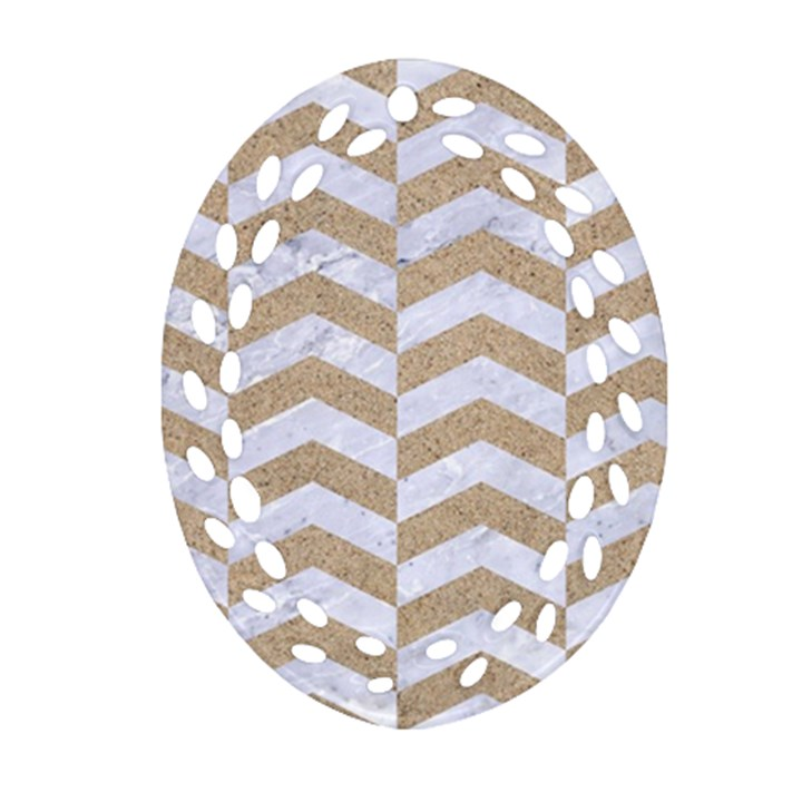 CHEVRON2 WHITE MARBLE & SAND Oval Filigree Ornament (Two Sides)