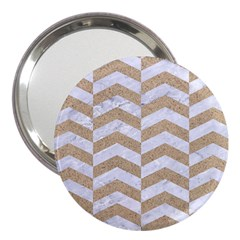Chevron2 White Marble & Sand 3  Handbag Mirrors by trendistuff