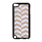 CHEVRON2 WHITE MARBLE & SAND Apple iPod Touch 5 Case (Black) Front