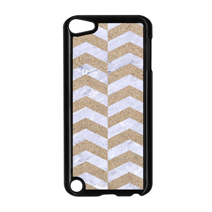 CHEVRON2 WHITE MARBLE & SAND Apple iPod Touch 5 Case (Black)