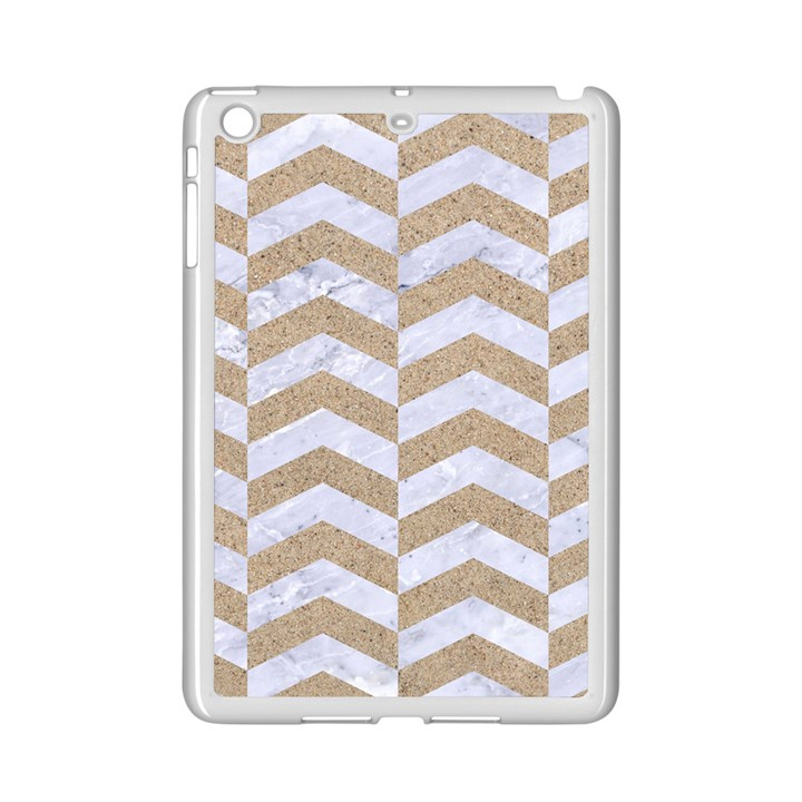 CHEVRON2 WHITE MARBLE & SAND iPad Mini 2 Enamel Coated Cases