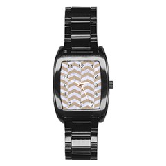 Chevron2 White Marble & Sand Stainless Steel Barrel Watch by trendistuff