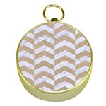 CHEVRON2 WHITE MARBLE & SAND Gold Compasses Front