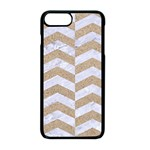 CHEVRON2 WHITE MARBLE & SAND Apple iPhone 8 Plus Seamless Case (Black) Front