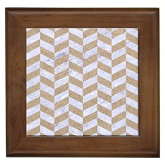 Chevron1 White Marble & Sand Framed Tiles