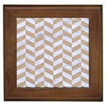 CHEVRON1 WHITE MARBLE & SAND Framed Tiles Front