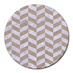 CHEVRON1 WHITE MARBLE & SAND Round Mousepads Front