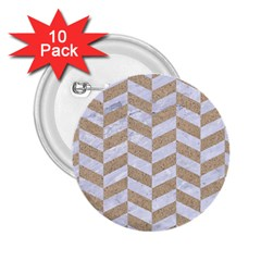 Chevron1 White Marble & Sand 2 25  Buttons (10 Pack)