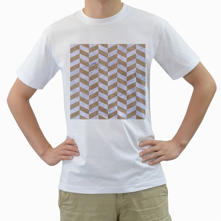 CHEVRON1 WHITE MARBLE & SAND Men s T-Shirt (White) (Two Sided)