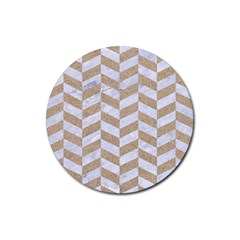 Chevron1 White Marble & Sand Rubber Round Coaster (4 Pack)  by trendistuff