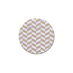 Chevron1 White Marble & Sand Golf Ball Marker by trendistuff