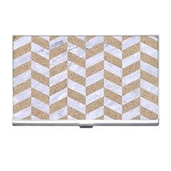 Chevron1 White Marble & Sand Business Card Holders by trendistuff