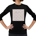 CHEVRON1 WHITE MARBLE & SAND Women s Long Sleeve Dark T-Shirts Front