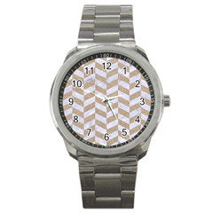 Chevron1 White Marble & Sand Sport Metal Watch