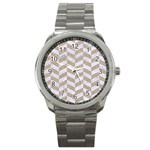 CHEVRON1 WHITE MARBLE & SAND Sport Metal Watch Front