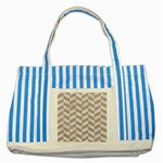 CHEVRON1 WHITE MARBLE & SAND Striped Blue Tote Bag Front