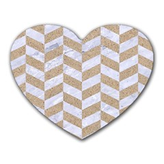 Chevron1 White Marble & Sand Heart Mousepads by trendistuff