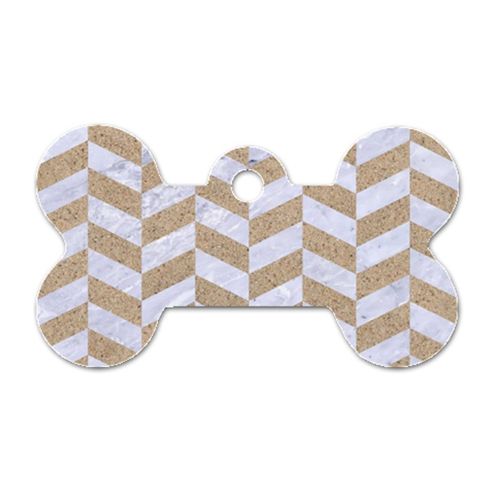 CHEVRON1 WHITE MARBLE & SAND Dog Tag Bone (One Side)