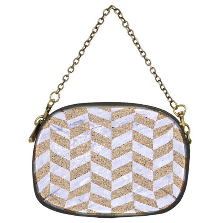 CHEVRON1 WHITE MARBLE & SAND Chain Purses (One Side)