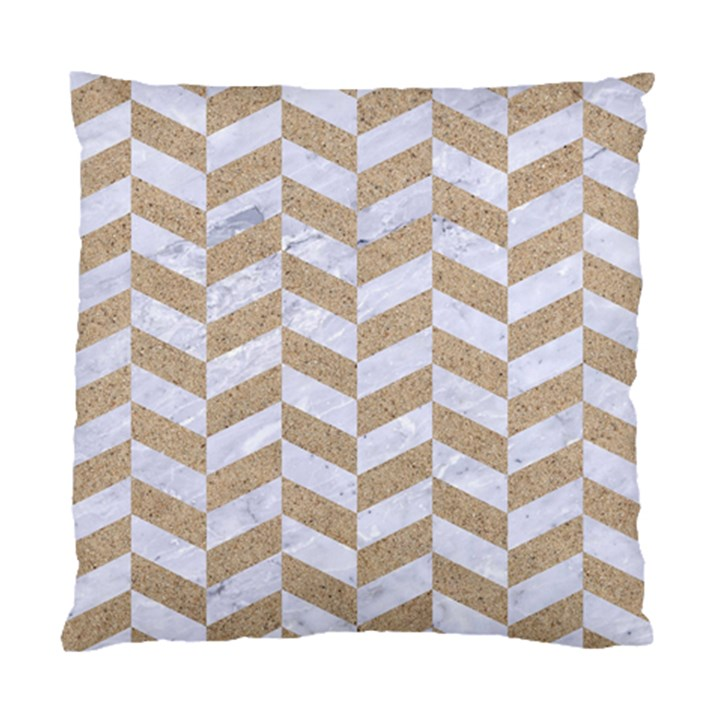 CHEVRON1 WHITE MARBLE & SAND Standard Cushion Case (Two Sides)