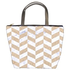 Chevron1 White Marble & Sand Bucket Bags by trendistuff