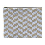CHEVRON1 WHITE MARBLE & SAND Cosmetic Bag (XL) Front