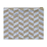 CHEVRON1 WHITE MARBLE & SAND Cosmetic Bag (XL) Back