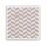 CHEVRON1 WHITE MARBLE & SAND Memory Card Reader (Square)  Front