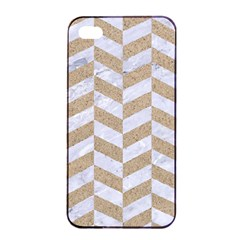 Chevron1 White Marble & Sand Apple Iphone 4/4s Seamless Case (black)
