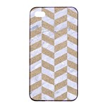 CHEVRON1 WHITE MARBLE & SAND Apple iPhone 4/4s Seamless Case (Black) Front