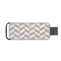 Chevron1 White Marble & Sand Portable Usb Flash (two Sides) by trendistuff
