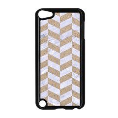 Chevron1 White Marble & Sand Apple Ipod Touch 5 Case (black) by trendistuff