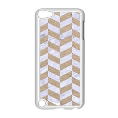 Chevron1 White Marble & Sand Apple Ipod Touch 5 Case (white) by trendistuff