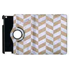 Chevron1 White Marble & Sand Apple Ipad 2 Flip 360 Case