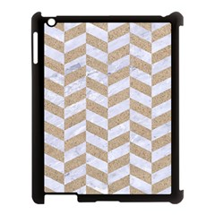 Chevron1 White Marble & Sand Apple Ipad 3/4 Case (black) by trendistuff