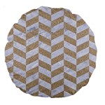 CHEVRON1 WHITE MARBLE & SAND Large 18  Premium Round Cushions Front