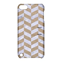 Chevron1 White Marble & Sand Apple Ipod Touch 5 Hardshell Case With Stand