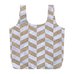Chevron1 White Marble & Sand Full Print Recycle Bags (l)  by trendistuff