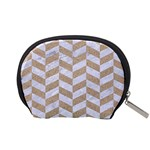 CHEVRON1 WHITE MARBLE & SAND Accessory Pouches (Small)  Back