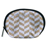 CHEVRON1 WHITE MARBLE & SAND Accessory Pouches (Medium)  Front
