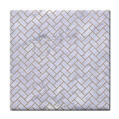 BRICK2 WHITE MARBLE & SAND (R) Tile Coasters
