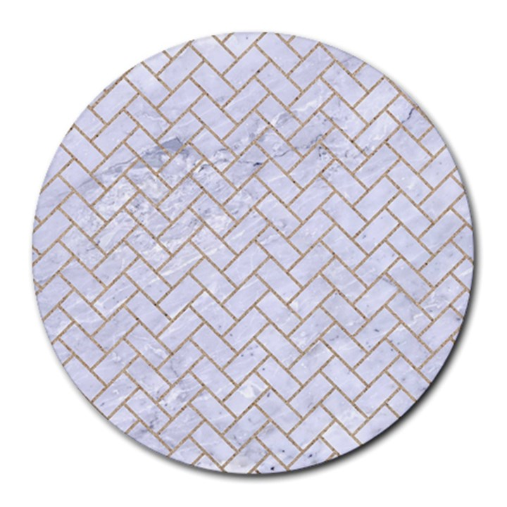 BRICK2 WHITE MARBLE & SAND (R) Round Mousepads
